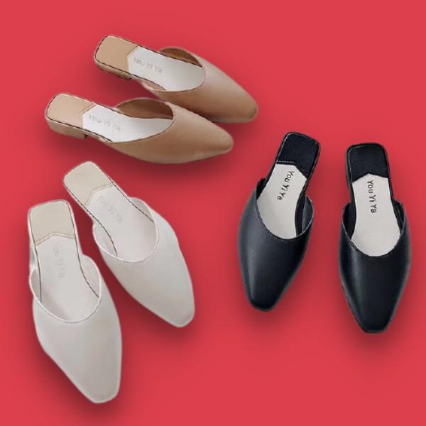 รองเท้าคัชชูเปิดส้นผู้หญิง หัวแหลม สวย