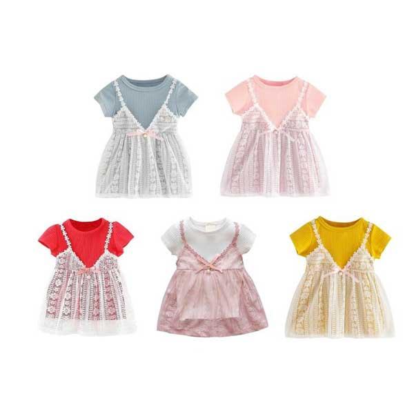 [พร้อมส่ง ของถึงไทยเเล้ว] ชุดเดรสแขนสั้น พิมพ์ลายลูกไม้ สำหรับเด็กทารก