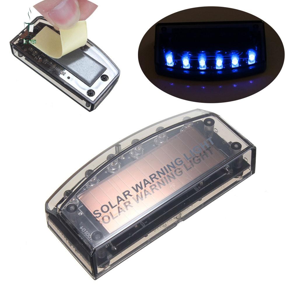 Car Blue 6 LED Solar Energy Warning Anti-Theft Flash Sensor Light Security Flash