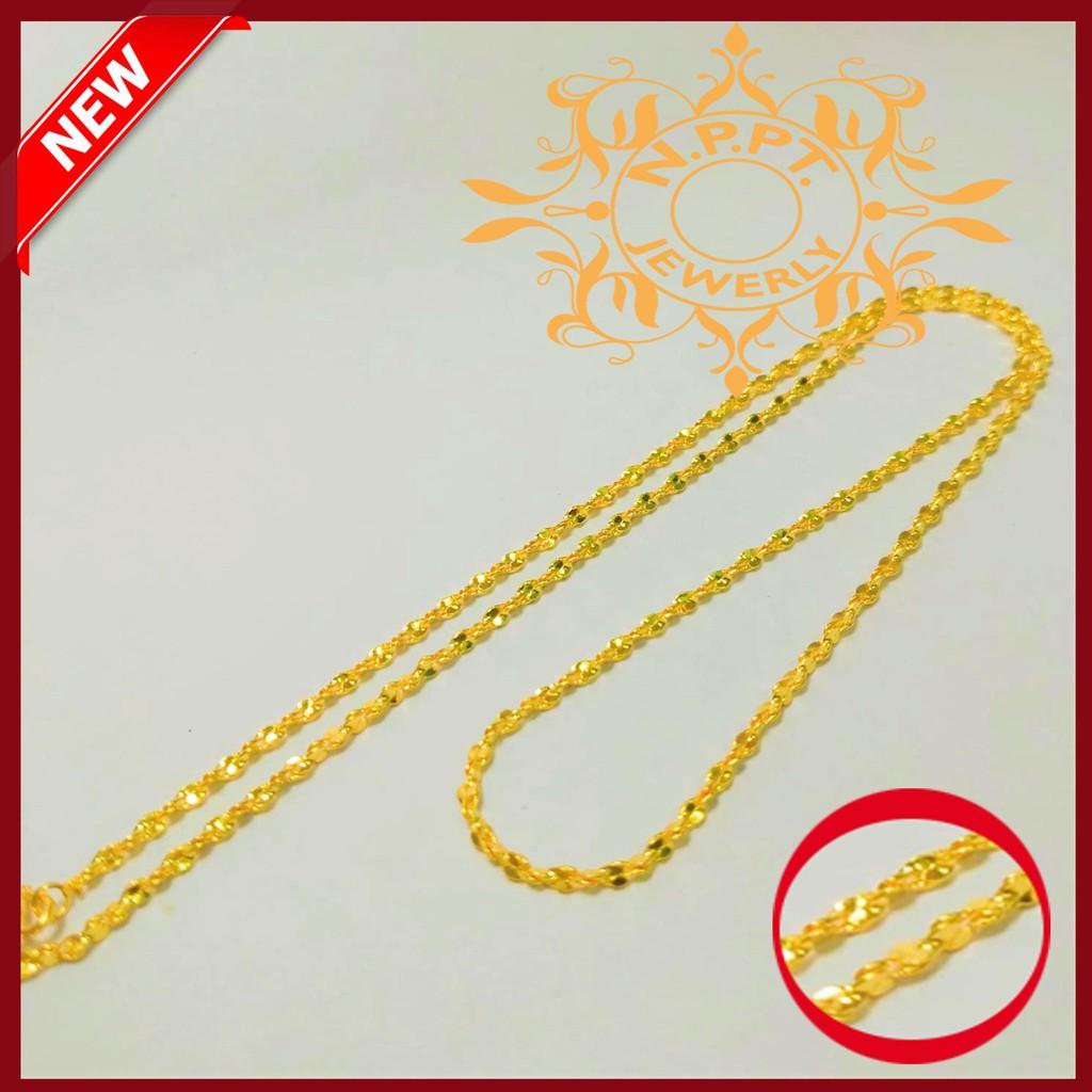 สร้อยคอทองไมครอน ลาย บิดเกลี่ยว หนัก 1 สลึง ยาว 18 นิ้ว ราคา189 บาทสร้อยคอ