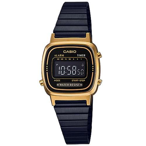 CASIO Standard นาฬิกาข้อมือผู้หญิง สีดำ/ทอง สายสแตนเลส รุ่น LA670WEGB-1BDF