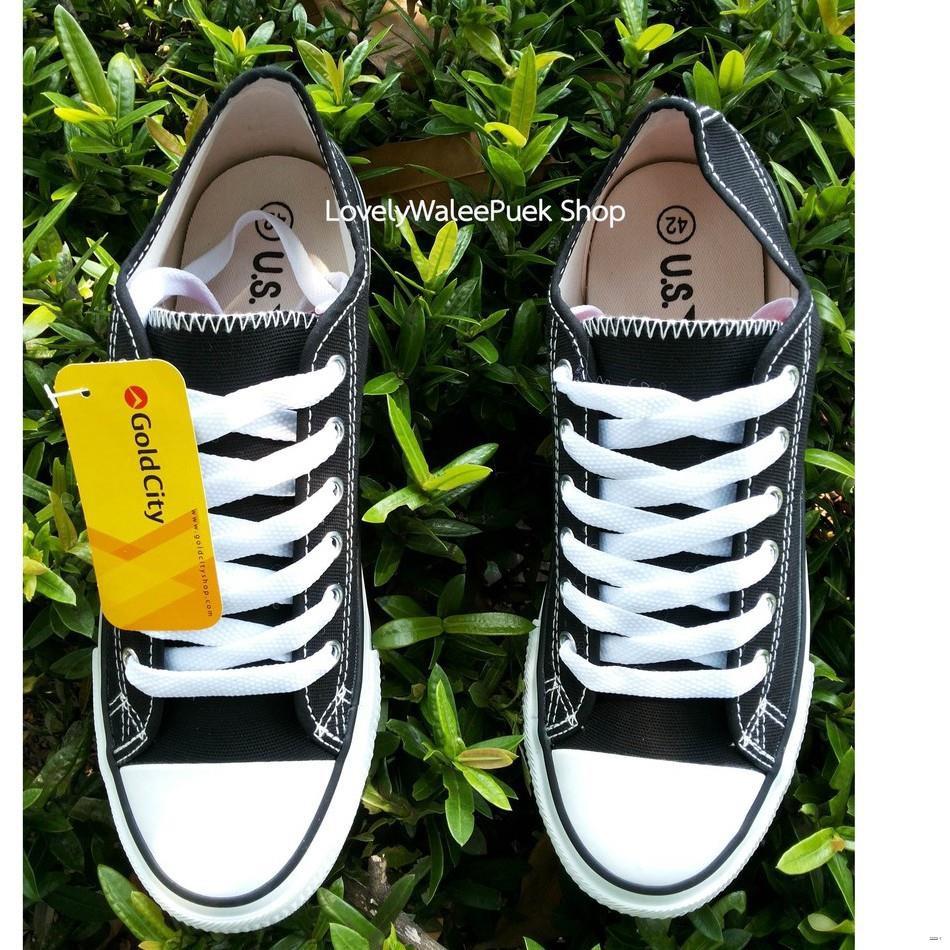 ยางยืดออกกําลังกาย▦☃Gold City สีดำ รองเท้าผ้าใบ พื้นนุ่ม ใส่ทน Size 36-47