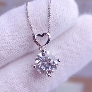Moissanite Pendants 0.5CT 1CT 2CT 3CT VVS Lab Diamond Necklaces for Women Anniversary Gift Heart Design Real 925 Sterlin