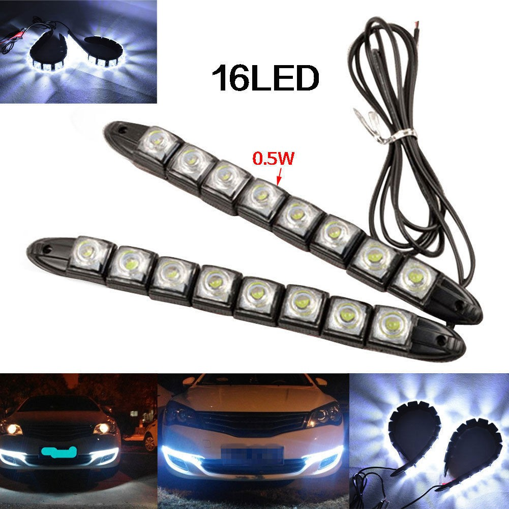 bestprice1920 ไฟรถยนต์ Universal Car Light 8LED DRL Fog Driving Daylight Daytime LED | Shopee Thailand