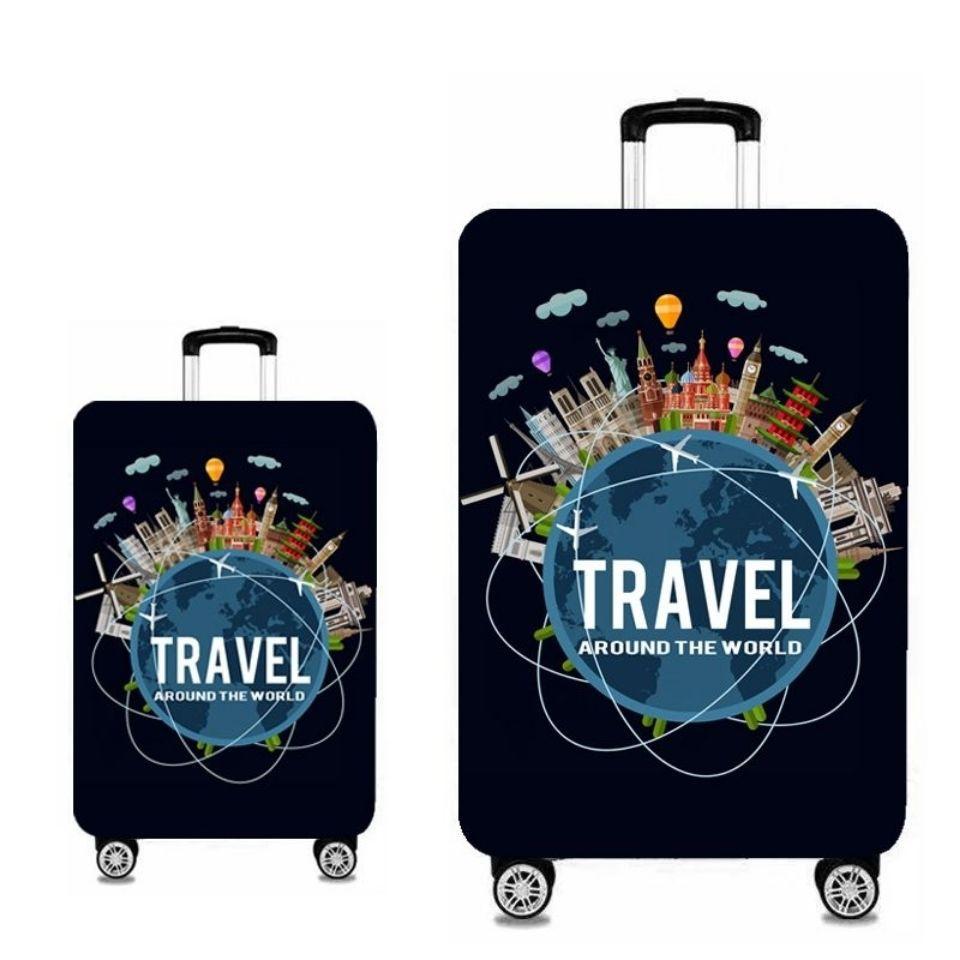 ผ้าคลุมกระเป๋าเดินทาง กระเป๋าเดินทางยืดหยุ่นป้องกัน 24 นิ้วกระเป๋าเดินทางฝุ่นรถเข็น 26 กระเป๋าเดินทางหนังหนา 28 นิ้วและท