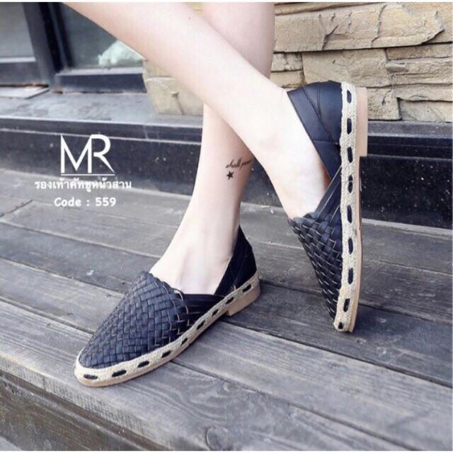 🔥ส่งต่อ🔥 รองเท้าคัชชู สีดำ แบบสานเก๋ๆ พื้นนิ่ม