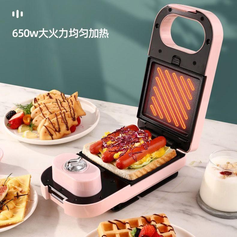 เครื่องแซนด์วิชเครื่องจับเวลาอาหารเช้าเครื่องกินขนมปังบ้านกดขนมปังเครื่องปิ้งขนมปัง