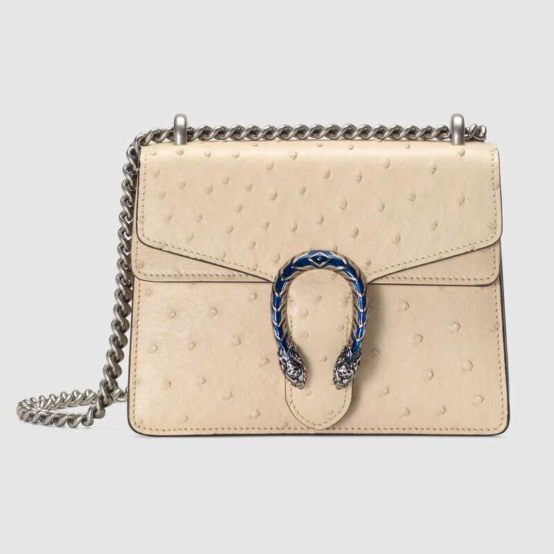 แบรนด์ใหม่ Gucci Dionysus ซีรีส์กระเป๋าถือหนังนกกระจอกเทศขนาดเล็ก 20 ซม. สีขาว