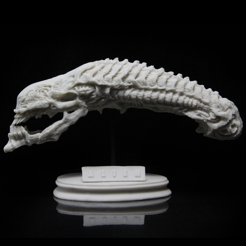 GARAGE KIT Alien 1/6 Scale  AVP Alien Xenomorph Queen Cranium Skull White Mold Resin  Aniamtion Figure 25cm