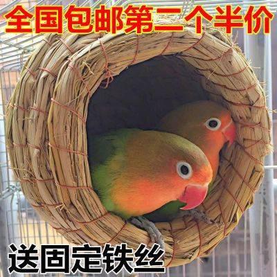 บันไดนกแก้ว ♒หญ้ารังนกนกดอกโบตั๋นเสือปลอมนกแก้วของเล่น Xuanfeng อุปกรณ์ Atropolita กล่องเพาะพันธุ์ภาชนะ 1♦