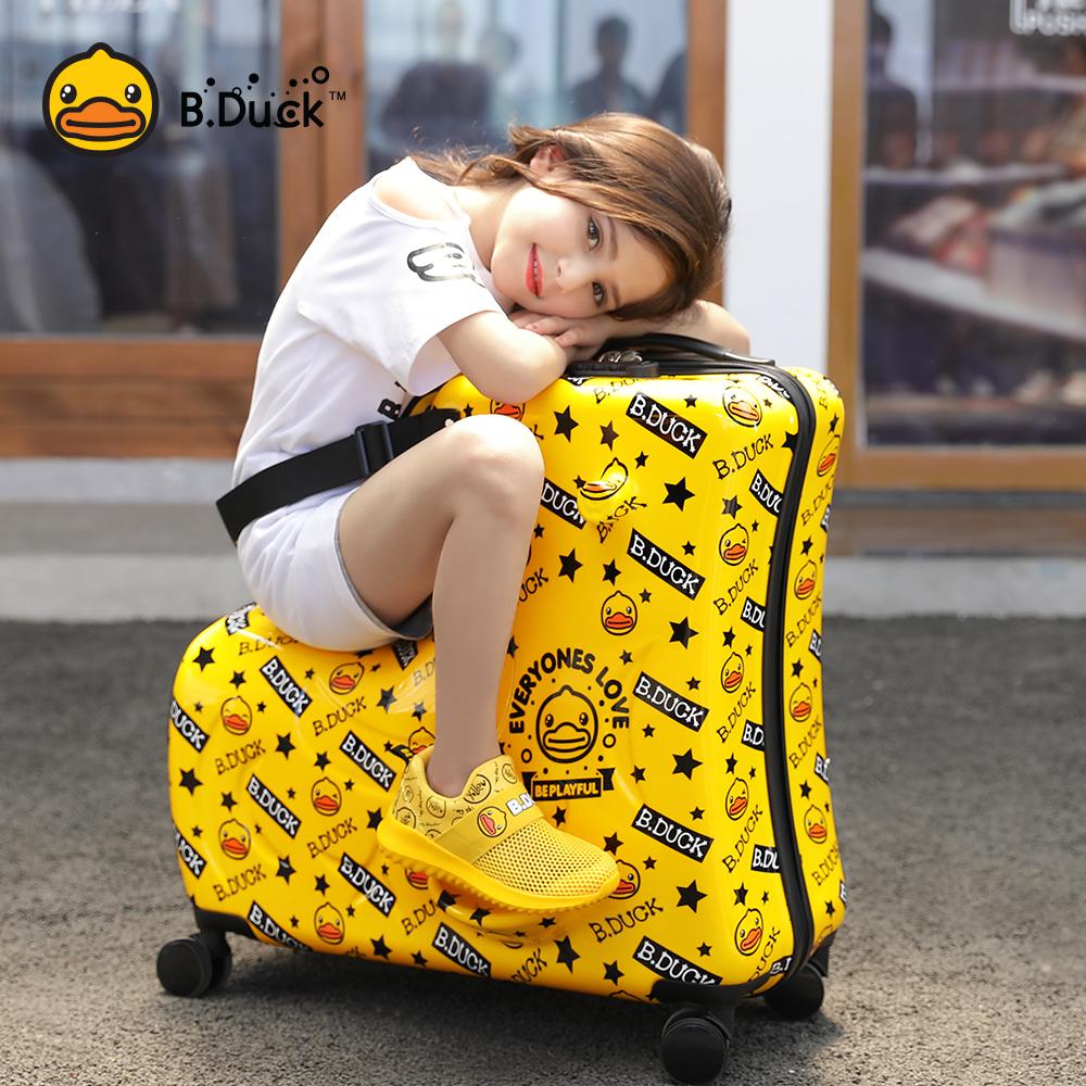 ゎゲกรณีรถเข็น กระเป๋าเดินทางล้อลากใบเล็ก กระเป๋าเดินทางล้อลากB.Duckเป็ดสีเหลืองขนาดเล็กสามารถนั่งและขี่เด็กกระเป๋าล้อสากล