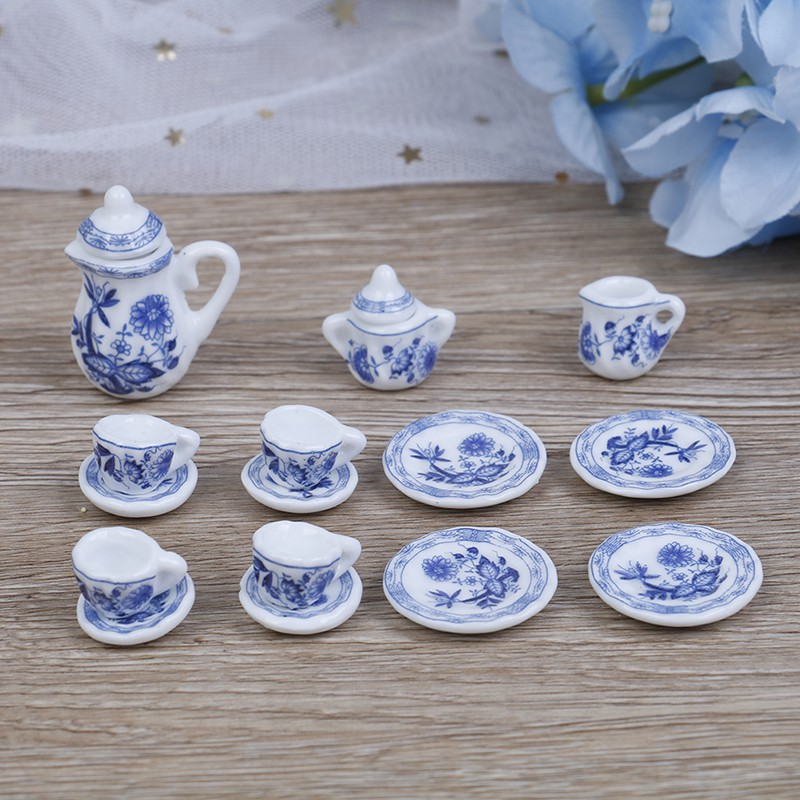 Porcelain 1:12 Scale Miniature Dollhouse China Ceramic Vase Set For Doll House
