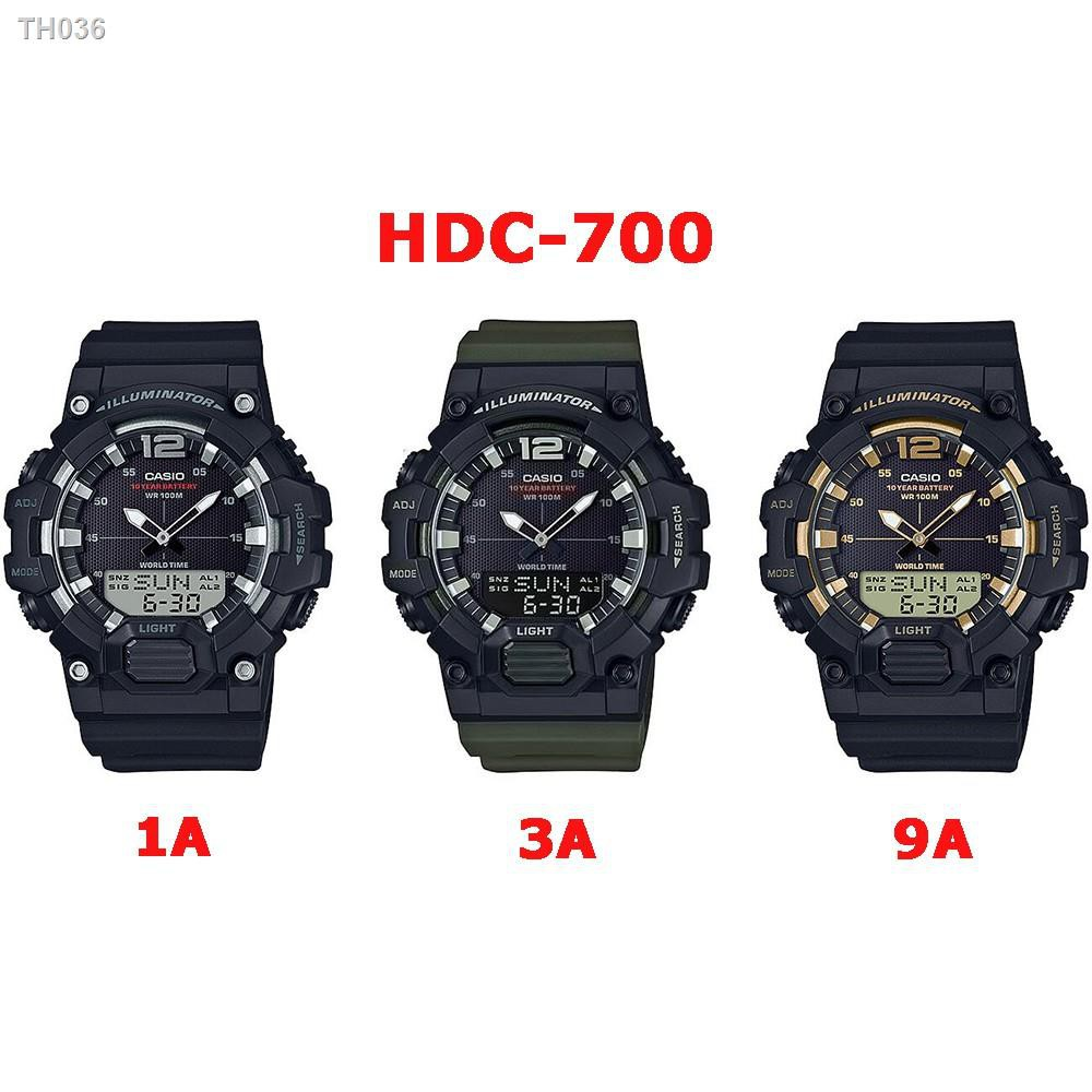 ♣Casio ของแท้ นาฬิกาผู้ชายสายเรซิ่น HDC-700 SERIES อายุแบตเตอรี่ 10 ปี รับประกัน 1ปี HDC7001