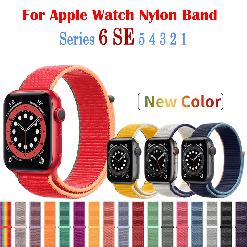 สายคล้องไนล่อนสำหรับ Apple Watch 38 มม. 40 มม. 42 มม. 42 มม. Apple Watch Band Series 6 SE 5 4 3 2 1
