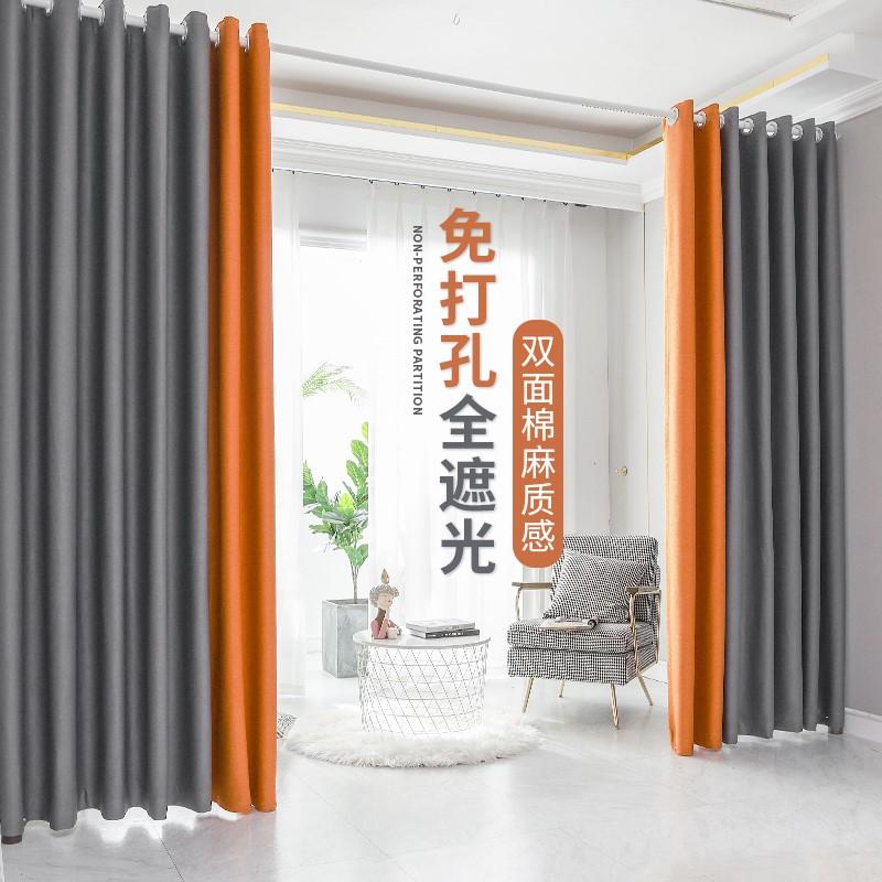 ผ้าม่านห้องนอนสำเร็จรูปอบอุ่นคุณภาพสูงฟรีเจาะสไตล์นอร์ดิกins2021สาวแรเงาใหม่เรียบง่าย
