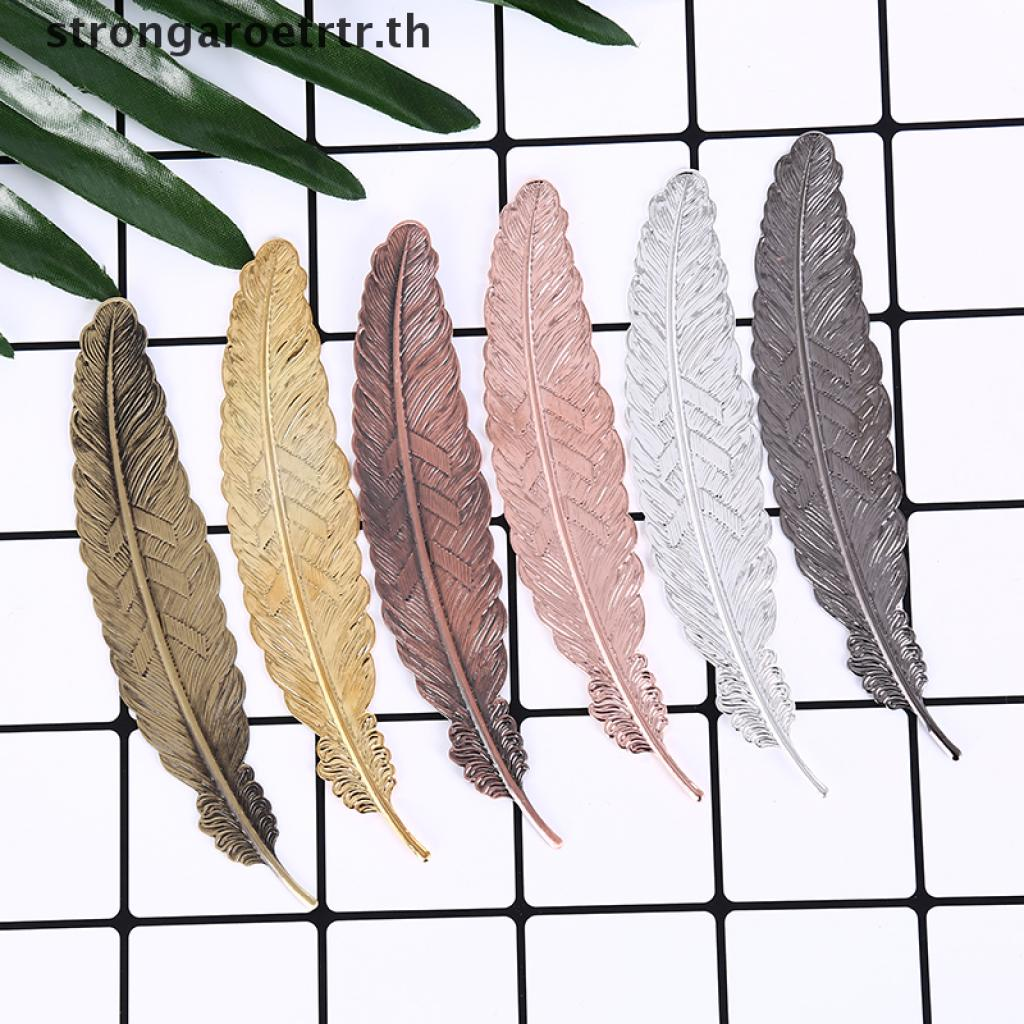 【strongaroetrtr】 antique leaves feather shaped metal bookmark for books office school gift TH
