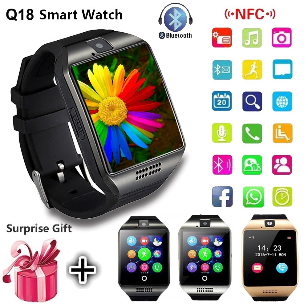 NFC Bluetooth Smart Watch Q18 with Camera Facebook Sync SMS MP3 Smartwatch  Phone Support Sim TF for IOS Android