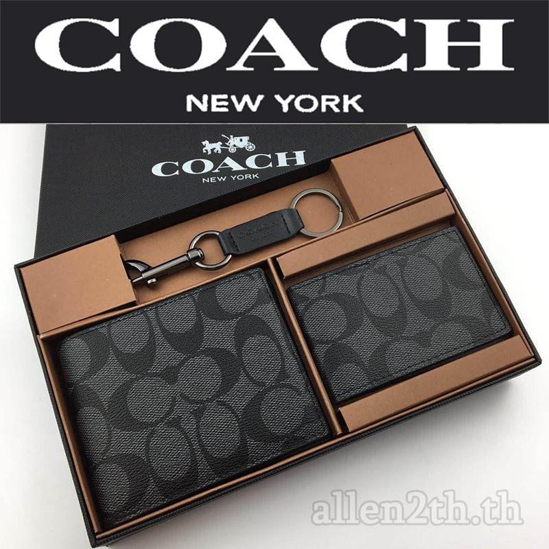กระเป๋าสตางค์ Coach แท้ F74993 กระเป๋าสตางค์ผู้ชาย / กระเป๋าสตางค์ใบสั้น / กระเป๋าสตางค์หนัง