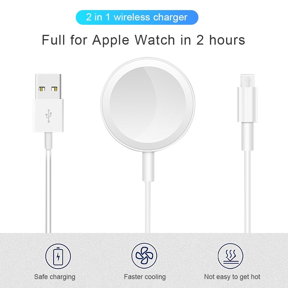 อแดปเตอร์ที่ชาร์จแม่เหล็ก แบบไร้สาย usb 2 in 1 ยาว 1 เมตร สําหรับ apple watch iwatch 5 iPhone X XR XS 11 Pro Max
