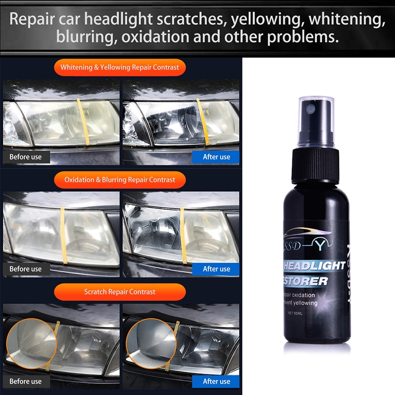 Auto Car Light Repair Liquid Set Kit Tool Repair Coating Hydrophobic Agent  50ml