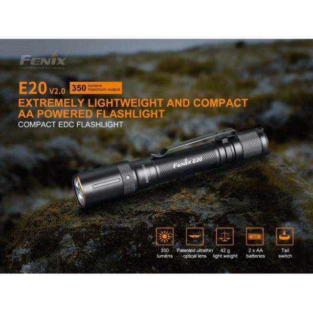 ไฟฉาย ไฟฉายแรงสูง ไฟฉายเดินป่า ไฟฉาย Fenix E20 V2 EDC Flashlight 350lm สินค้ารับประกัน 3 ปี ไฟฉายสว่าง