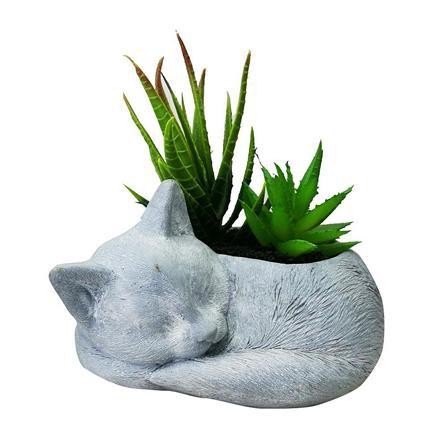 ต้นไม้ปลอม ไม้อวบน้ำในกระถางรูปแมว SPRING 02 ตกแต่งบ้าน