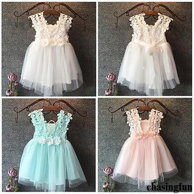 507899897 FSH-Elegant Feast Baby Girls Princess Lace Flower Tulle Tutu Gown Formal  Party