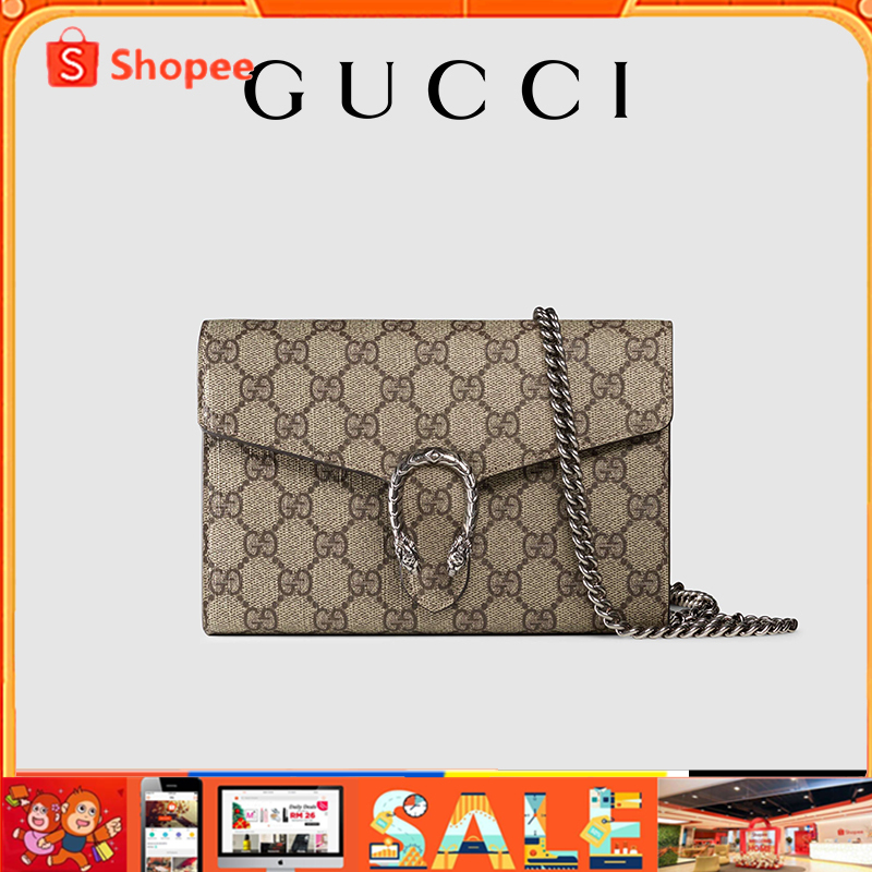 Gucci Dionysus GG Supreme ของแท้แฟชั่นผู้หญิงกระเป๋าสะพายข้างเดียวกระเป๋าสะพายโซ่ (หนัง PVC)