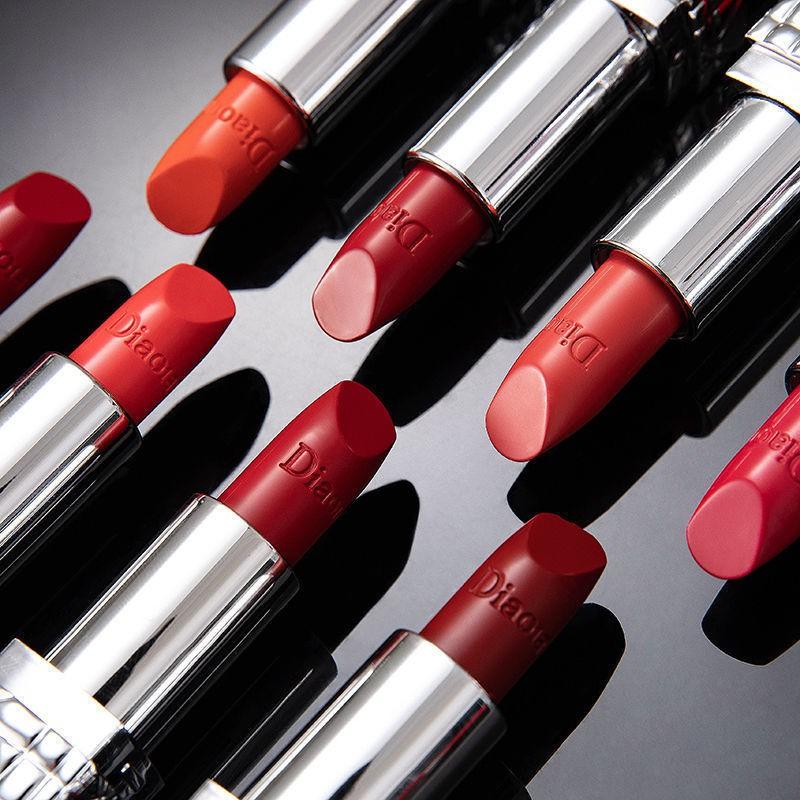 ✇☄❃>ลิปสติกแบรนด์ใหญ่ของ Kesh Dior 999 classic red matte moisturizing non-stick cup non-fading non-marking lipstick