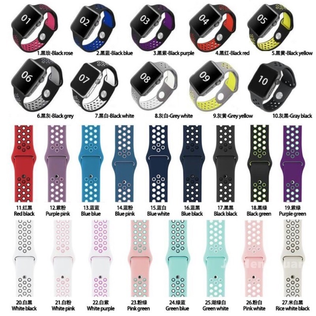 สายนาฬิกา Apple Watch ซีรีย์ 1-5 42/44mm. สาย Nike apple watch ใส่ร่วมกับ W55 W55s Q99 T5s T500 p90