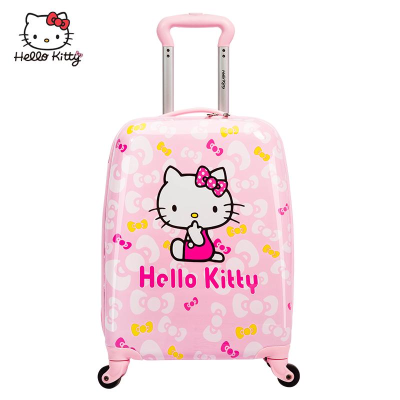 ≓ㇼ กระเป๋าเดินทางกลางแจ้ง กล่องเก็บเสื้อผ้า กระเป๋าใส่รถเข็นเด็ก HelloKittyกระเป๋าเด็กเจ้าหญิงผู้หญิงล้อสากล20นิ้ว18สามา