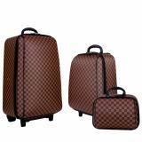 """กระเป๋า pvc❂▫Polo กระเป๋าเดินทาง ล้อลาก ระบบรหัสล๊อค เซ็ท 3 ใบ (24""""+18""""+14"""") นิ้ว รุ่น Luxury Set M998 (Brown)"""