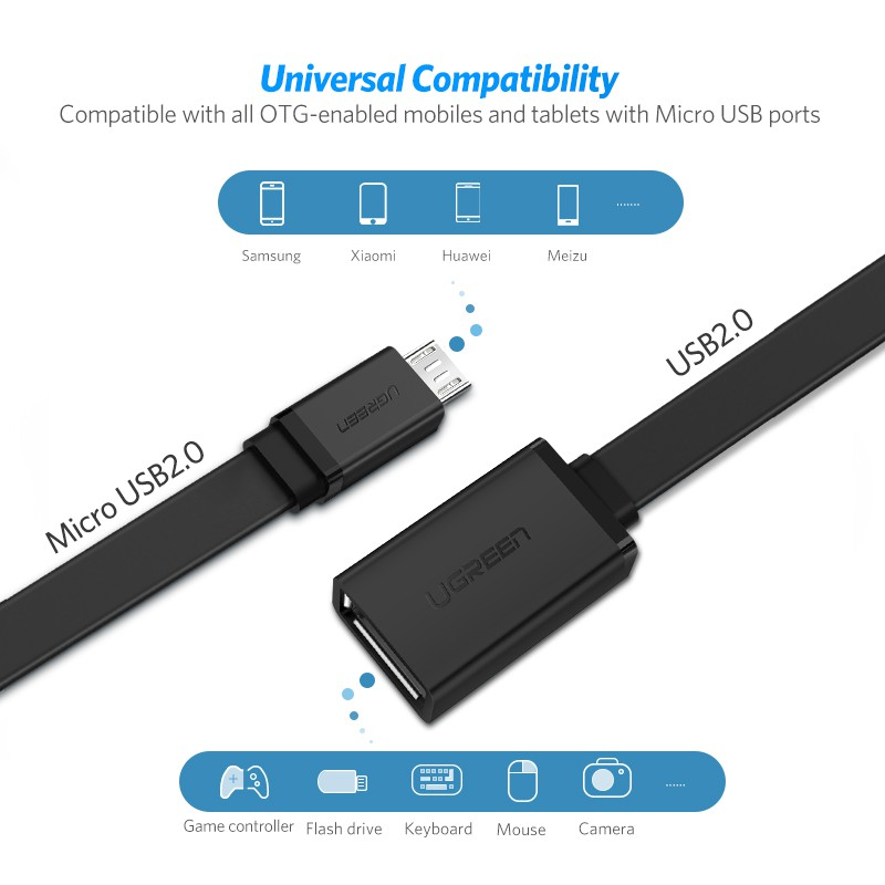 NEW UGREEN USB 2.0 FEMALE TO MICRO USB MALE OTG CABLE 10396 HIGH SPEED DATA RATE