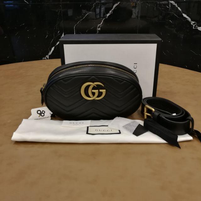 "Gucci Belt Bag GG Marmont Quilted Lamb Black GHW 9""/85 ตัวกระเป๋า9นิ้ว สายยาวรูแรกรูสุดท้าย73-93ซม"