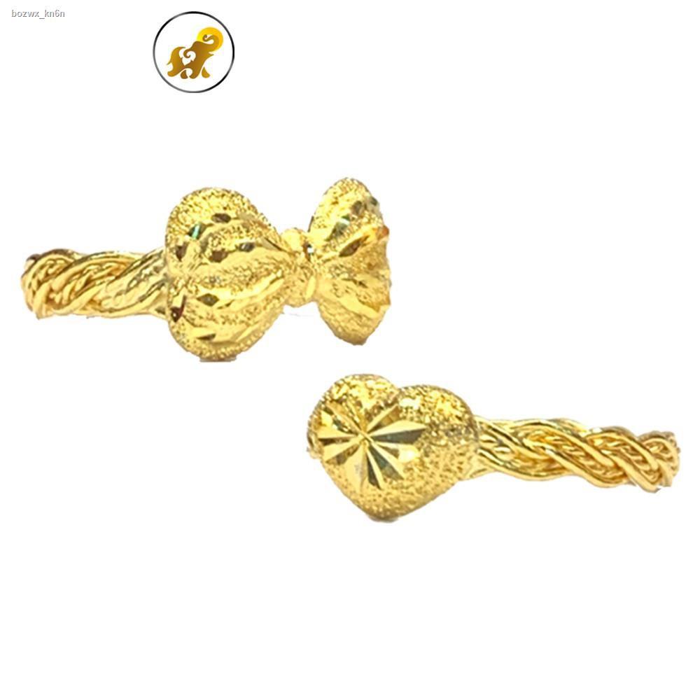 ราคาต่ำสุด❀☢☽Flash Sale แหวนทองครึ่งสลึง เปียโบว์-เปียหัวใจ หนัก 1.9 กรัม ทองคำแท้ 96.5% มีใบรับประกัน