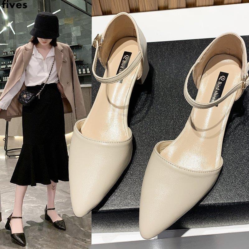 รองเท้าแตะส้นหนารองเท้าผู้หญิงรองเท้าคัชชูหัวแหลมย้อนยุคทุกคู่