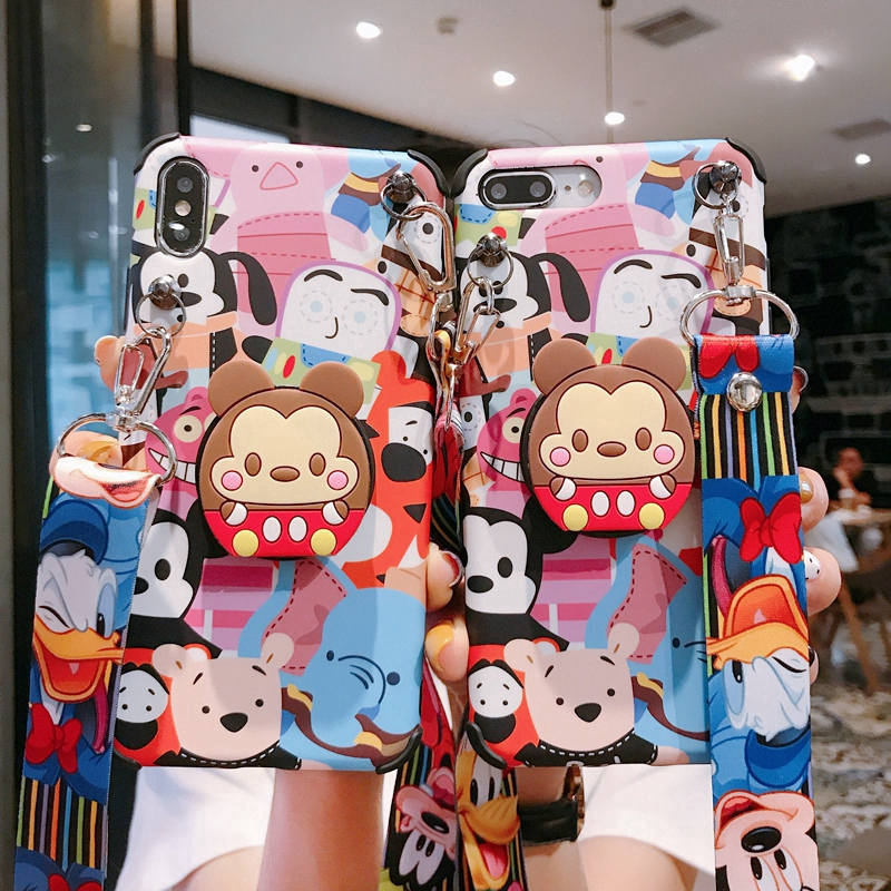 Mickey Mouse Cartoon Case IPhone X XS Max XR Stand Holder Cover IPhone 6 6S 7 8 Plus with La