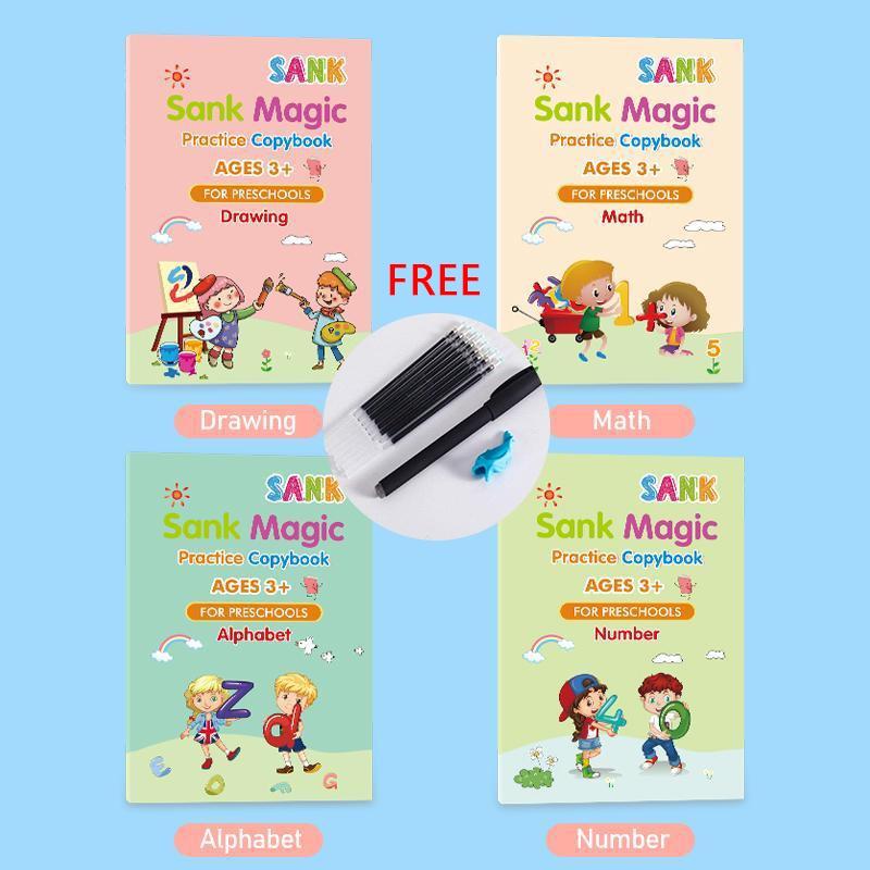 สมุดคัดลอกลายตัวอักษรภาษาอังกฤษ 3D 4 Books + Free Pens สําหรับเด็ก