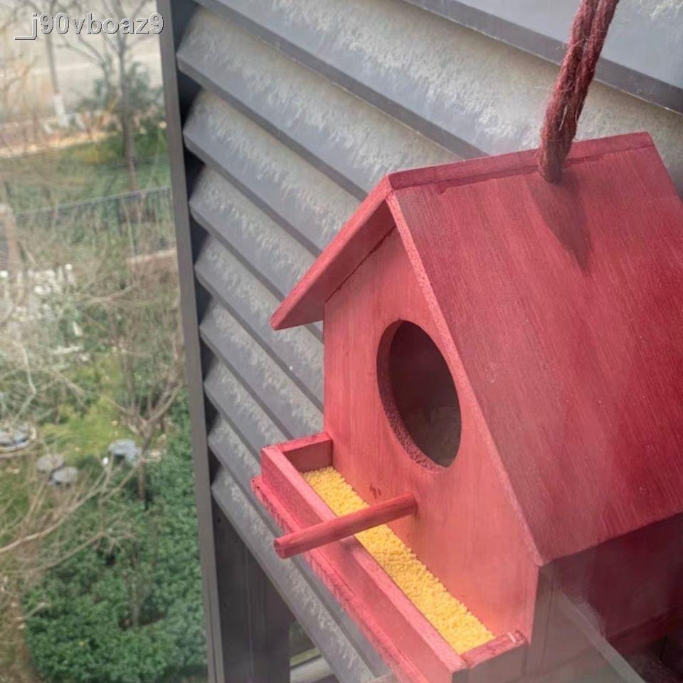 นกน้อย✹♈✢บ้านนกกลางแจ้ง รังนกผ่านรัง กรงนก กล่องเพาะพันธุ์ รังนก นกแก้ว อบอุ่นพันธุ์ บ้านนกไม้