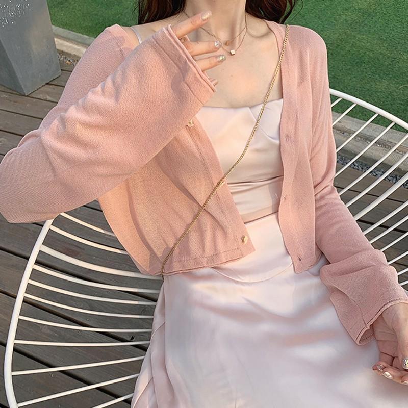 Gakki เสื้อไหมพรม เสื้อคลุมกันแดดแขนยาว ผ้านิ่มใส่สบาย ฟรีไซส์ พร้อมส่ง 2977#