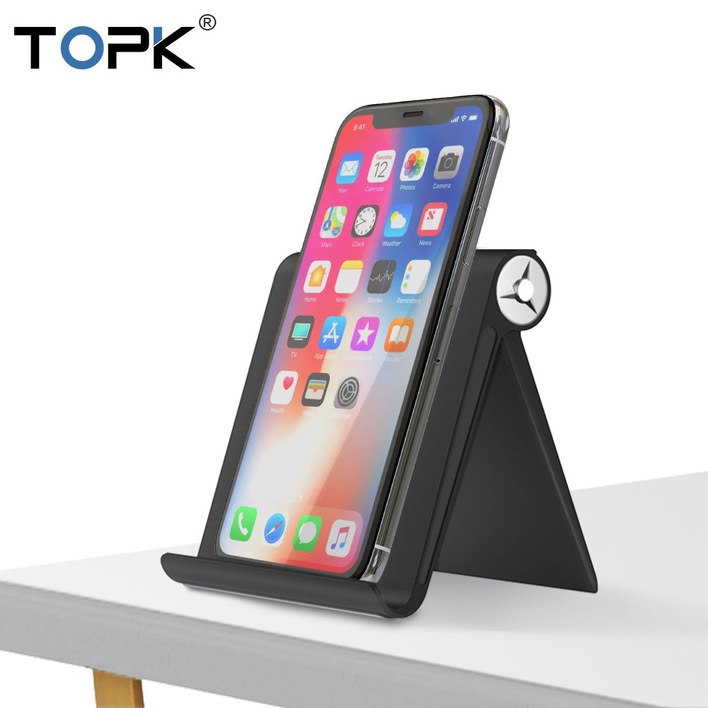TOPK D08 Universal Desk Adjustable Phone Tablet Holder Phone Holder Stand for iPhone Xs Max XR Foldable Mobile Phone Stand