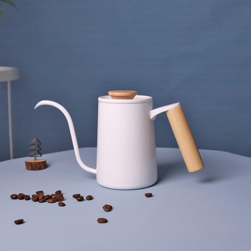 ≑✆หม้อกาแฟหนาหม้อกาแฟ moka  หม้อที่เจาะด้วยมือปากยาวสีขาวป้องกันการลวกหม้อคอบางหม้อกาแฟทำมือพร้อมเครื่องวัดอุณหภูมิเครื่
