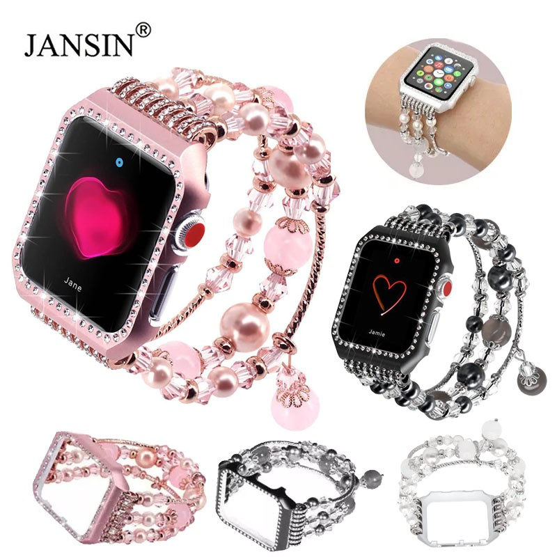 Diamond Case+Elastic Stretch Bracelet For Apple Watch band 42mm 38mm Women Jewelry Strap For Apple Watch Band 40mm 44mm