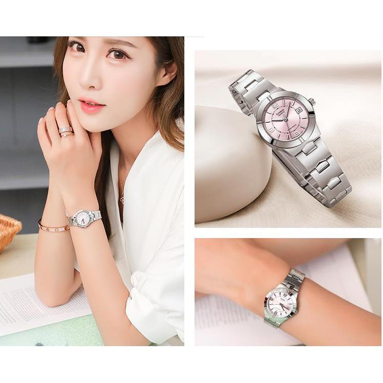 (ขายดี) Casio นาฬิกาข้อมือผู้หญิง รุ่น LTP-1241D-4A- สายสแตนเลส หน้าปัดชมพู ของแท้ 100% ประกันศูนย์ CMG 1 ปีเต็ม