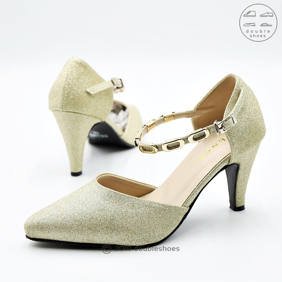 รองเท้าคัชชูรัดส้น รองเท้าออกงาน รองเท้าส้นสูง 2 นิ้ว PENNE รุ่น SN4490 (สีทอง ) ไซส์ 35-40