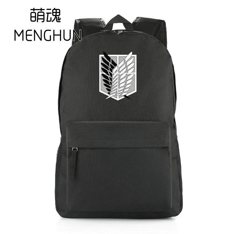 R0qV Attack on titan anime backpack cartoon black nylon backpacks game anime freedom wings survey crops backpacks