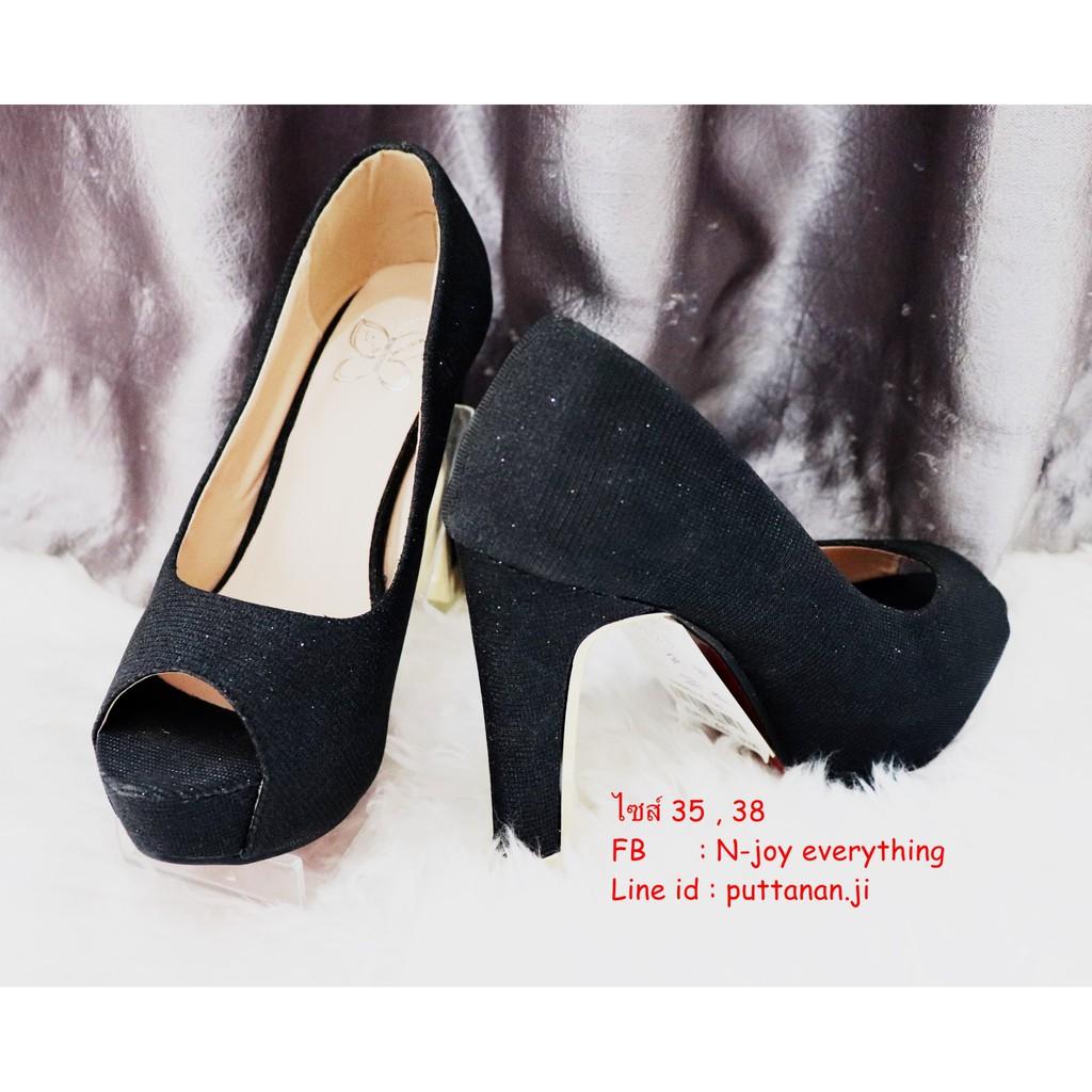 N-95823 คัชชูสีดำ  4.5 นิ้ว  รองเท้าออกงาน  รองเท้าคัชชูส้นสูง