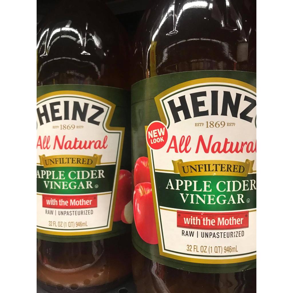 Apple cider น้ำส้มสายชูหมักจากแอปเปิ้ล Apple cider vinegar ขนาด 946 มล. แบบใหม่ ชนิดไม่ผ่านการกรอง ตราไฮน์