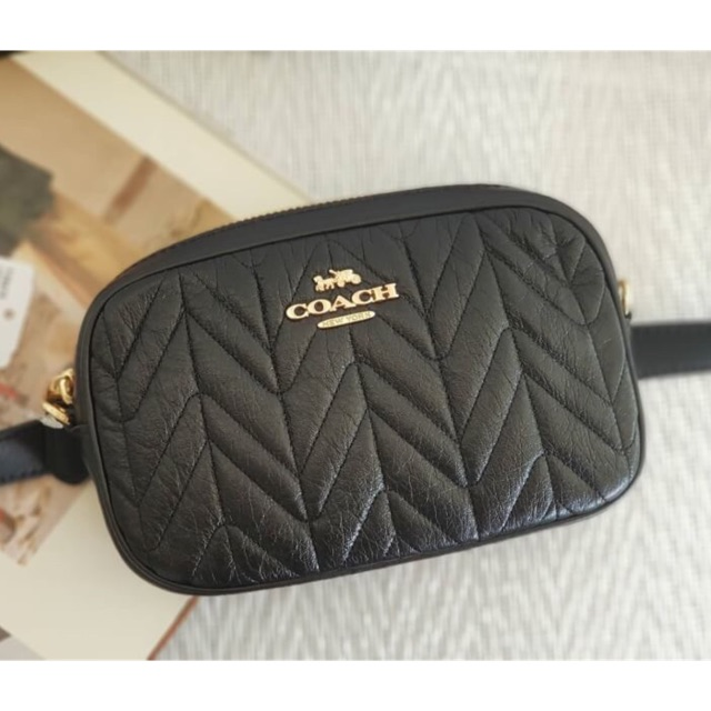 42fbedf57414 CONVERTIBLE BELT BAG WITH QUILTING (COACH F38678) BLACK GOLD ...