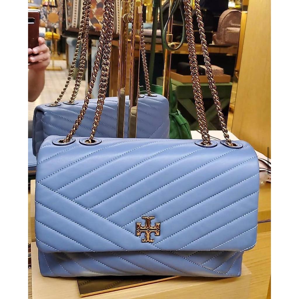 พร้อมส่ง!!Sale 13500ราคาพิเศษ 👜Tory Burch Kira Chevron สีฟ้า อะไหล่ทอง หนังแกะ  ใบใหญ่